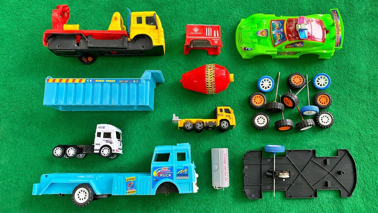 Assemble Blue Dump Truck, Construction Truck, Fire Truck and Police Car | Toy Vehicles Attached