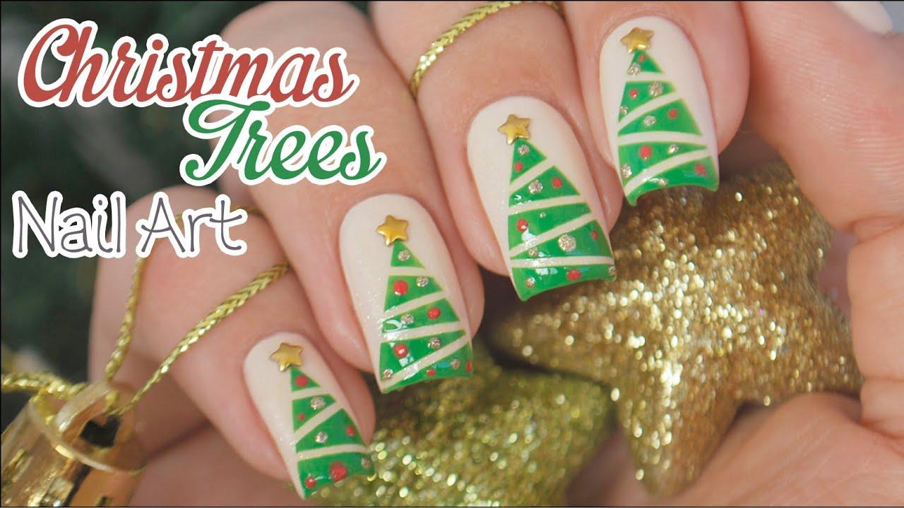 Christmas Trees Nail Art || using striping tape - YouTube