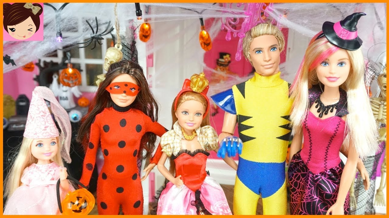 Barbie House Halloween Decorations u0026 Doll Costumes with Chelsea Ken Skipper u0026 Stacie  sc 1 st  YouTube & Barbie House Halloween Decorations u0026 Doll Costumes with Chelsea Ken ...