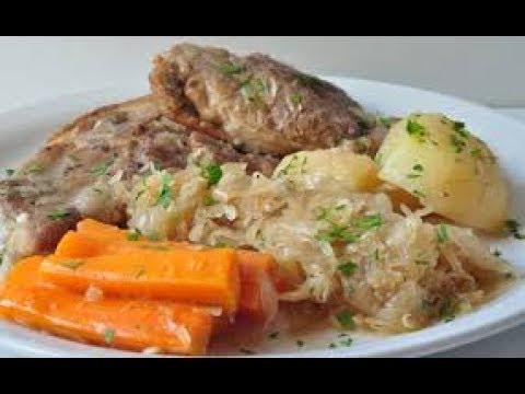Roast Pork With Sauerkraut And Vegetables