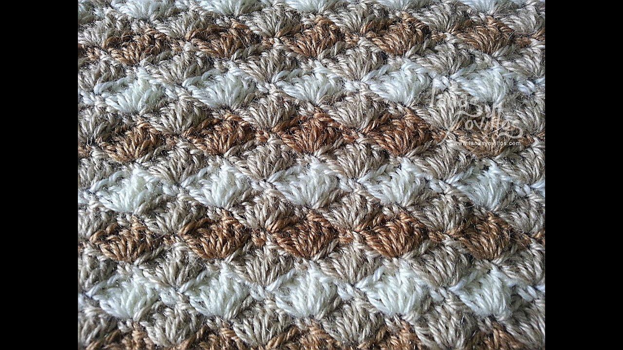 Tutorial punto concha crochet o ganchillo shell stitch - Mantas de crochet paso a paso ...