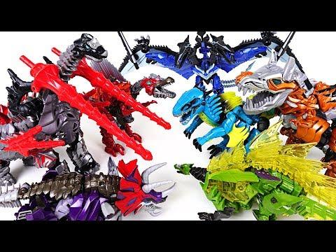 Transformers 7 colors dinosaurs dinobot 2/2 : Tyrannosaurus, Brachiosaurus, Pteranodon - DuDuPopTOY
