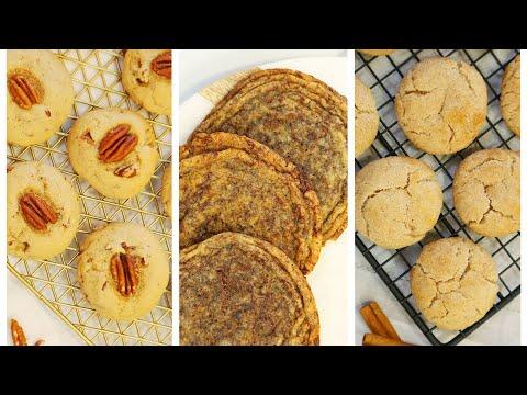 Cookies 3 Delicious Ways   Giant Chocolate Chip Cookies, Snickerdoodle Cookies, Maple Pecan Cookies
