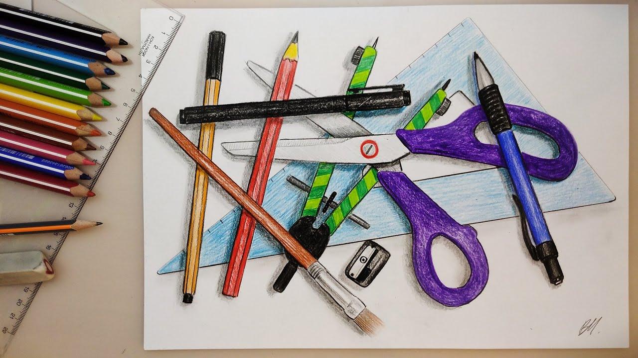 Draw Overlapping with stationery - Takarás írószerekkel