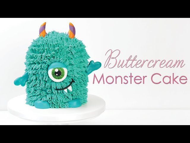 Cute Buttercream Monster Cake Tutorial - with Buttercream Fur