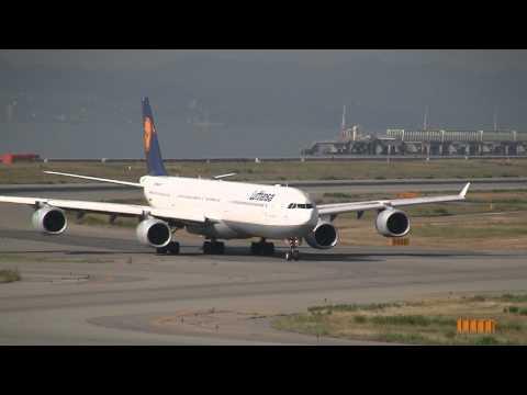 Lufthansa Airbus A340-600 Landing & Take off at Osaka