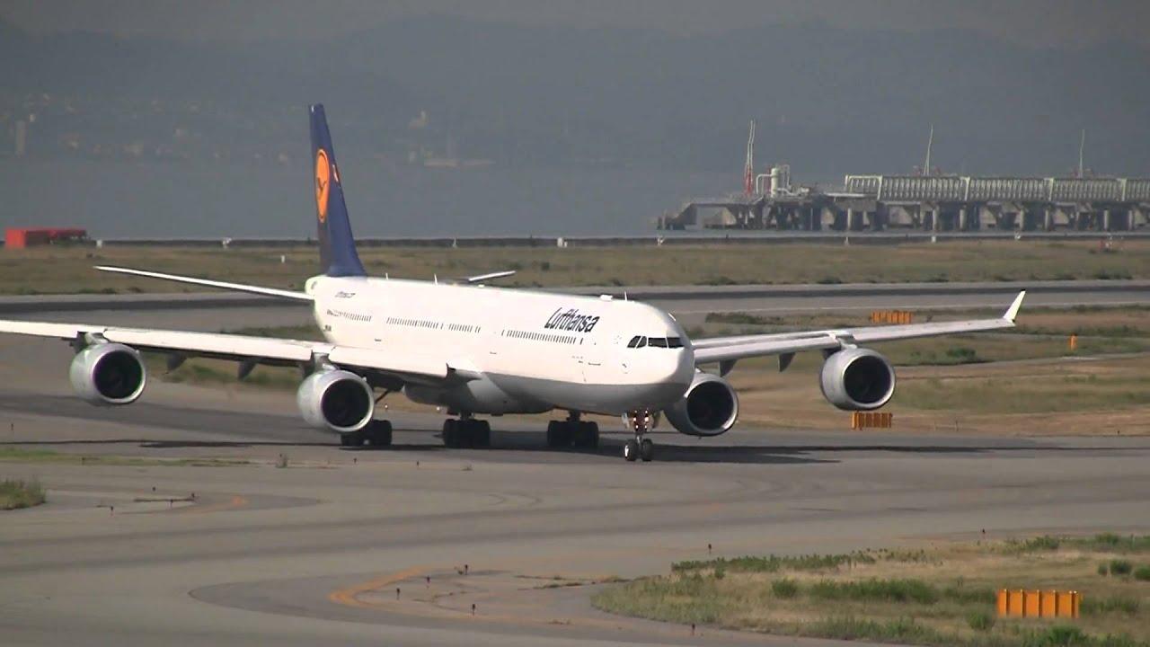 lufthansa airbus a340 600 landing take off at osaka youtube