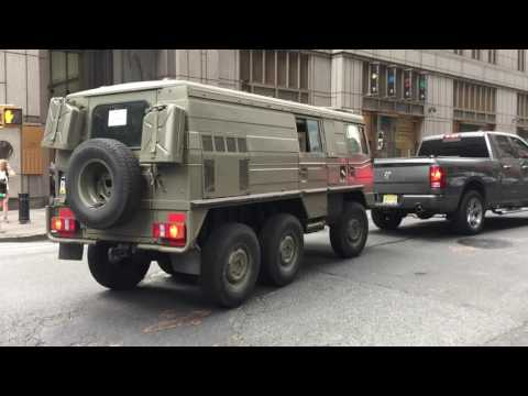 VERY OLD VINTAGE STEYR-PUCH PINZGAUER HIGH MOBILITY ALL TERRAIN VEHICLE FROM EUROPE IN MANHATTAN.