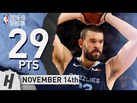 VINTAGE Marc Gasol Full Highlights Grizzlies vs Bucks 2018.11.14 - 29 Pts, 2 Ast, 5 Rebounds!