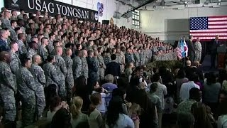 President Obama Speaks at U.S. Army Garrison Yongsan Free HD Video