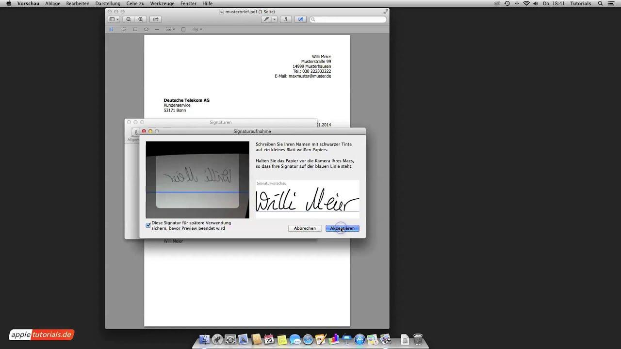 Signatur Am Mac Unterschrift In Pdf Einfügen Youtube