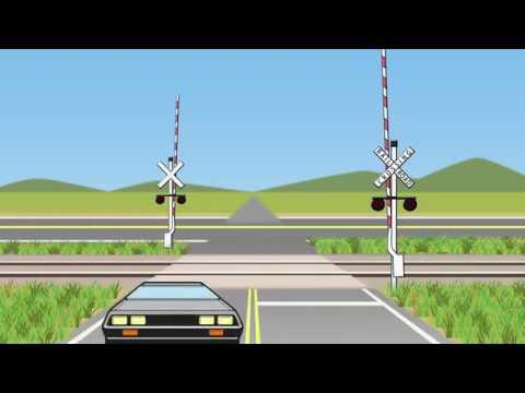 踏切とデロリアン Railroad crossing and De Lorean| 踏切子供向けアニメ