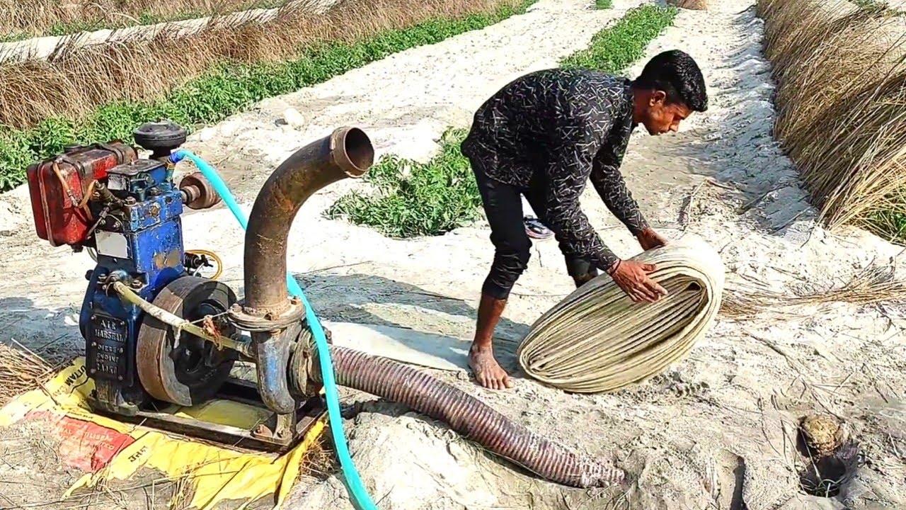 4 इंच न्यू प्लास्टिक पाइप द्वारा  || खेतों की सिंचाई कार्य || 8hp Water Pump Set Diesel Engine
