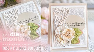 Spellbinders December 2019 Amazing Paper Grace Die of the Month – Rose & Filligree Duo Slip-In Card