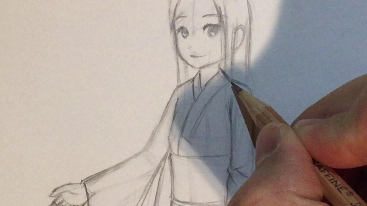 How To Draw Anime Clothing Girl In Kimono Yukata No Timelapse