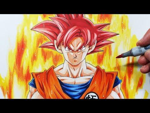 How To Draw Goku Super Saiyan God Step By Step Tutorial