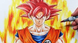 How To Draw Goku Super Saiyan GOD - Step By Step Tutorial!