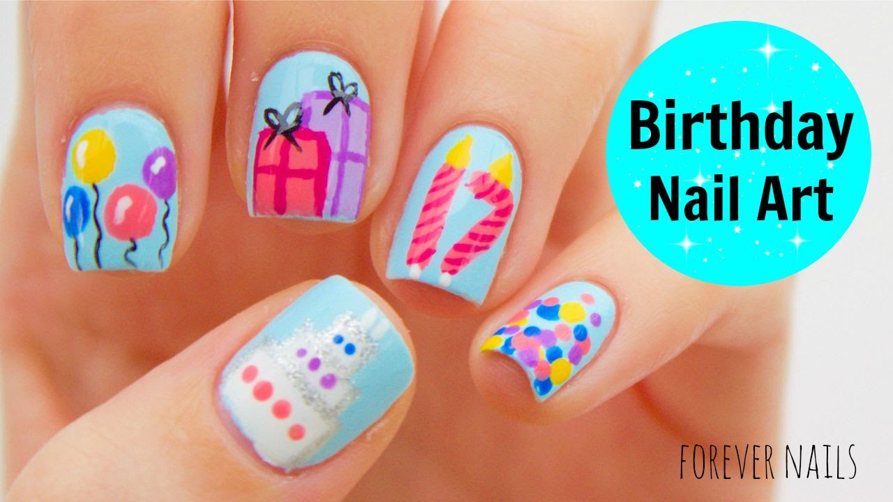 Birthday Nail Art - YouTube