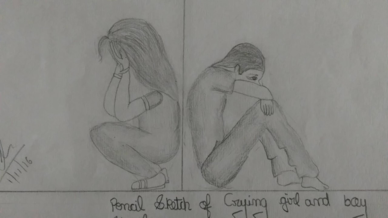 Sketch of crying girl and boy
