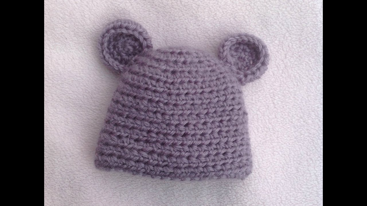 Crochet Baby Hat Tutorial Step By Step : HOW TO CROCHET A VERY EASY BABY HAT TUTORIAL - YouTube