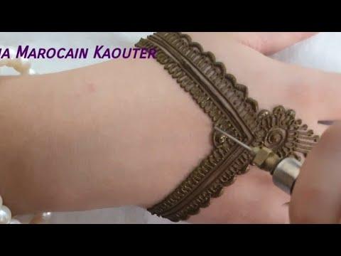 تصميم نقش بالحناء بسيط و خفيف للعروس Simple henna pattern design for bride - New Henna Marocain kaouter