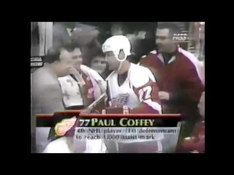 Igor Larionov scores from Paul Coffey 1000th assist in NHL (1995)