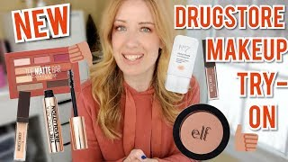 NEW DRUGSTORE MAKEUP TRY-ON & WEAR TEST   No. 7 Foundation Drops, Elf Primer Blush, Burts Bees