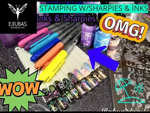 Stamping W/Sharpie Markers & Alcohol Inks Using Ejiubas Plates