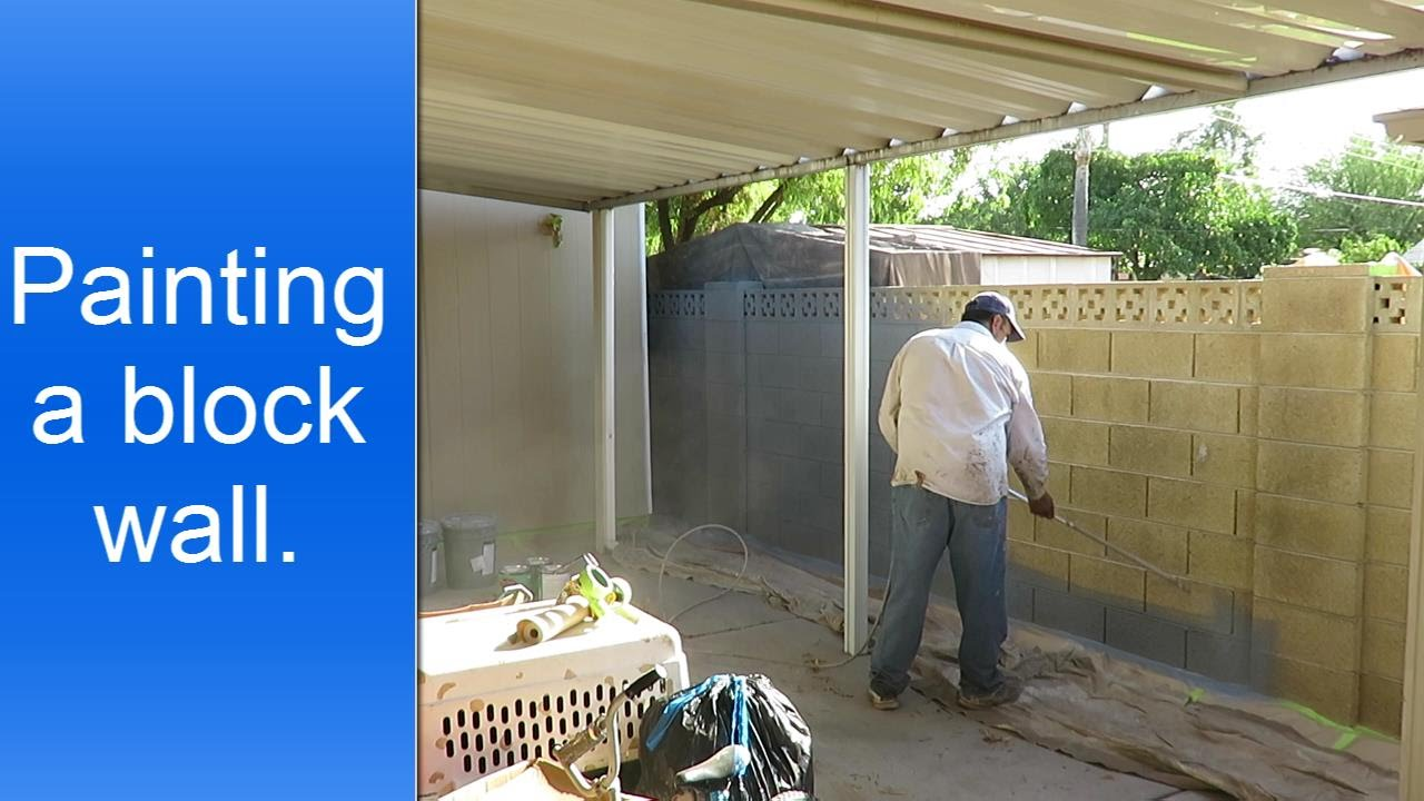 Painting exterior cinder block wall. - YouTube