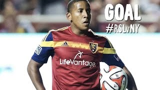GOAL: Joao Plata wraps one into the side netting | Real Salt Lake vs New York Red Bulls