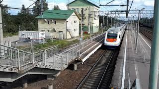 Скоростной поезд Аллегро проносится между двумя платформами 200 км.ч в Гаврилово