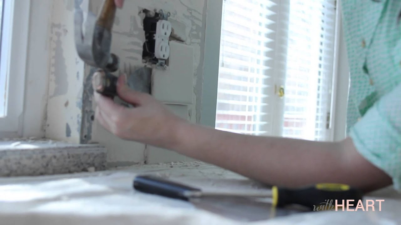 How To Remove Kitchen Tiles How To Remove A Tile Backsplash Withheart Youtube