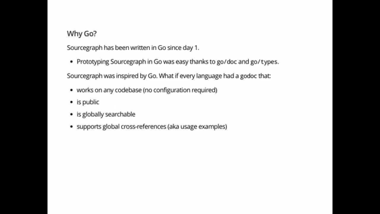 Google I/O talk: Building Sourcegraph, a large-scale code search