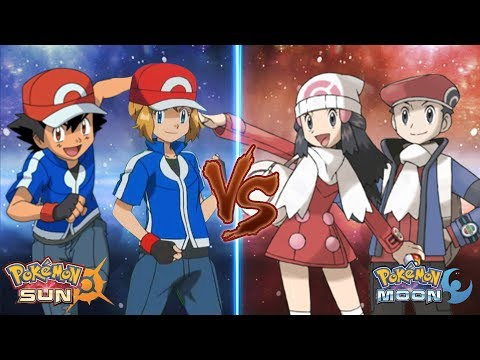 Pokemon Sun and Moon Kalos Ash and Serena Vs Dawn and Lucas (Couple Battle)
