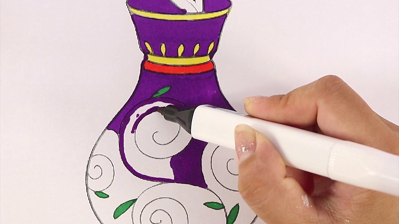 Tô màu bình hoa – Vẽ và Tô Màu lọ hoa đơn giản.Hướng dẫn bé tô màu  bông hoa và lọ hoa.Bé Học Tô Màu
