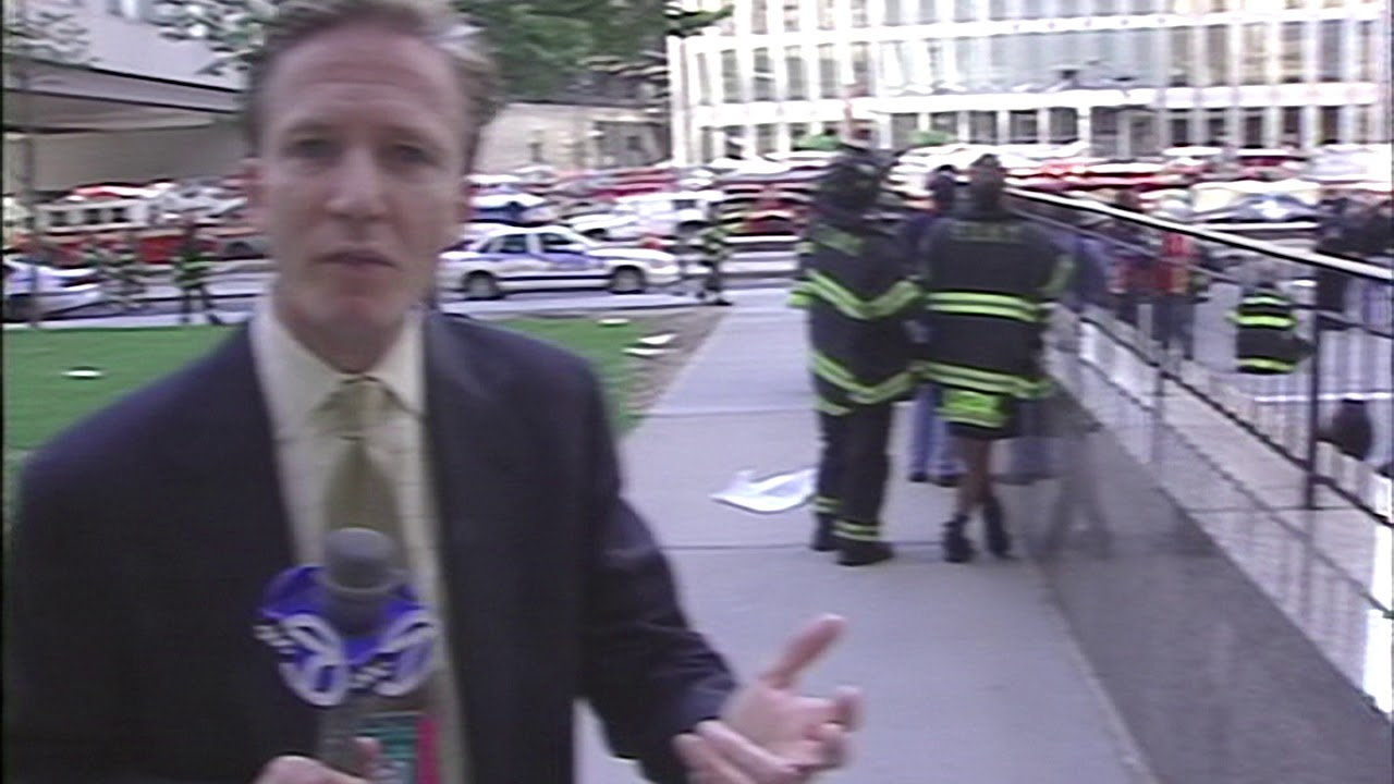 WABC-TV Reporter N J  Burkett's Reaction to WTC2 Collapse Initiation