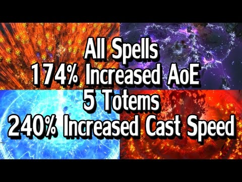 Path of Exile 2.4 - Every AoE Spell Totem Skills + MTX's | Huge AoE & Cast Speed [Seizure Warning]