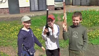 Мальчики играют в войнушку.Детская игра.Оружие России.Super Weapon Russia