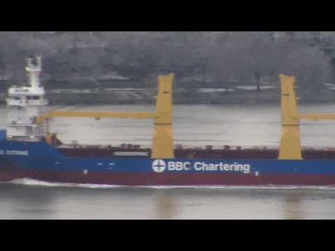 BBC Chartering ship sails over Hudson River NYC, shipping company based in Leer, Germany