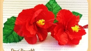 Diy - How To Make Hibiscus Paper Flower For Room & Gift Box Decoration, Hair Bow