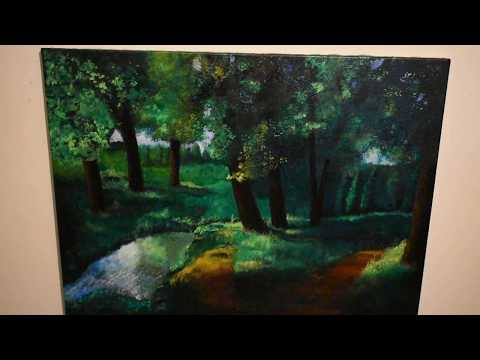 Painting landscape spring and urban
