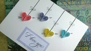 Quilling Valentine's Day cards: make paper Quilling Valentine's Day card with heart.