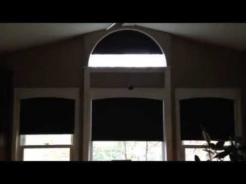 Rollertrol Arch Window Motorized Shade Operation Youtube