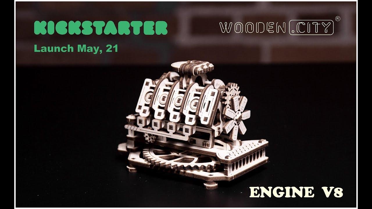 V8 Engine Mechanical Wooden Model Kit | Wooden City