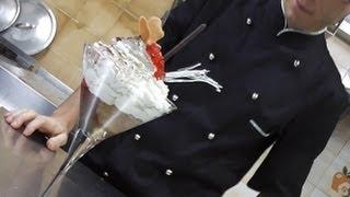Mousse di castagne con gelato al cioccolato, biscuit e gelatina rum