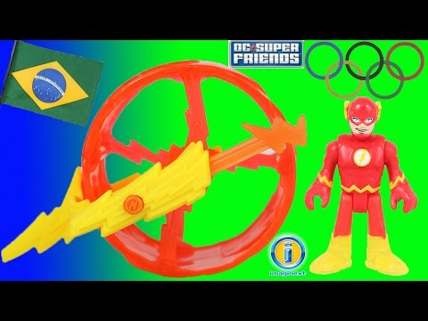 Imaginext DC Super Friends The Flash runs a special race against Speedy at the Olympics in Rio!
