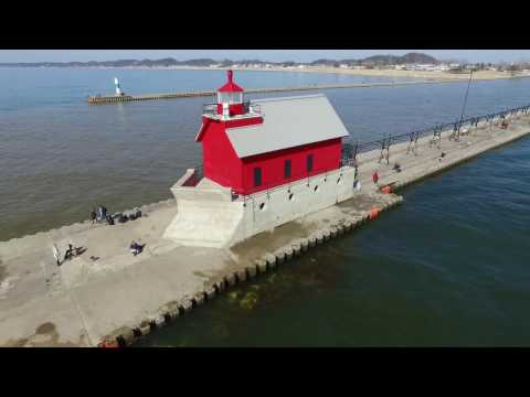 Drone Flight in Grand Haven, MI. Early Spring
