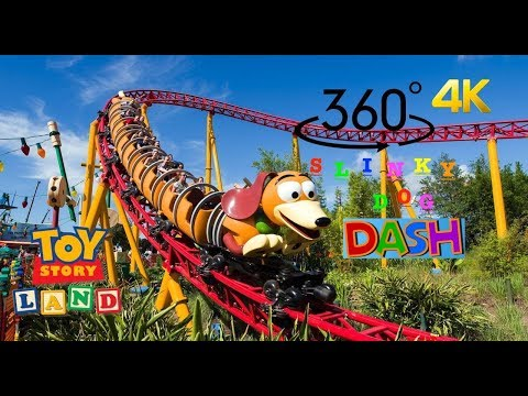 360° 4K Slinky Dog Dash Roller Coaster - Toy Story Land DISNEY WORLD