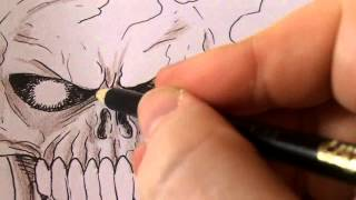 Drawing A Ghost Rider Skull Drawing Video Tutorials 1-3