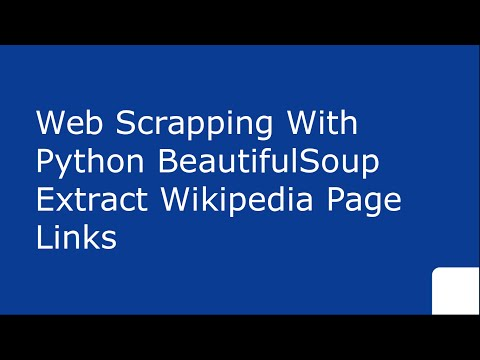 WebScrapping With Python urllib BeautifulSoup Extract Wikipedia Page links